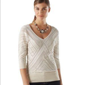 {WHBM} V-neck Pointelle Sweater